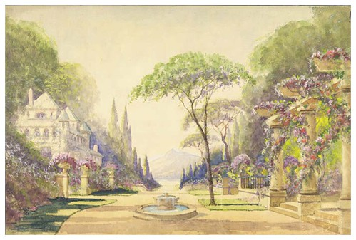 013-jardines-Garden with a fountain, a house and Doric Columned arbor. Mountains in background. Painted on water color paper