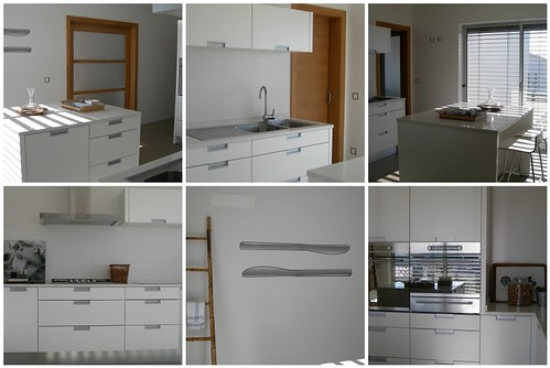 The best white kitchen interior design with modern furniture style. Microwave, warmer drawer, oven, kitchen sink and faucet, cooker, extractor and stools by IKEA.