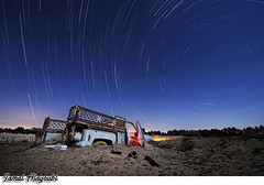 Doomed ! (Jamal Alayoubi) Tags: blue sky tree abandoned night truck star sand nikon long exposure desert 14 trail arab 24 kuwait nikkor d3 jamal alayoubi