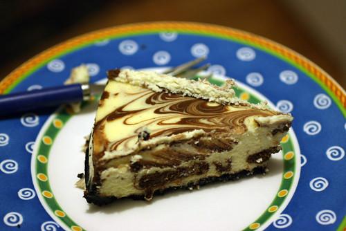 Vanilla-Chocolate Swirl Cheesecake Slice