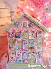 Sugary Advent Calendar (Sugar*Sugar) Tags: christmas pink glitter altered scrapbook scrapbooking holidays aqua advent calendar sugar numbers gingerbreadhouse trim pompom shabbychic glittered sugarsugar