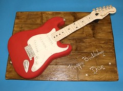 Guitar Cake (Alix'sCakes - away for a while) Tags: birthday red cake guitar board fender sponge stratocaster fondant woodeffect wwwalixscakescouk alixscakes