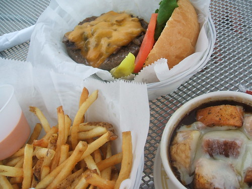 Burger, soup, fries