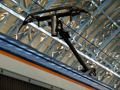 Pantograph (miltonmic) Tags: london train eurostar unitedkingdom railwaystation electricity kingscross electrictrain gbr pantograph waterloosunset e510 olympuse510 stpancrasinternationalrailwaystation miltonmic 1260mmf28