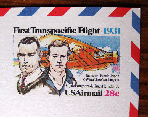 First Transpacific Flight airmail postcard
