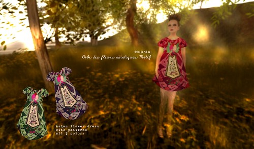 NuDoLu Robe des fleurs asiatiques Motif AD