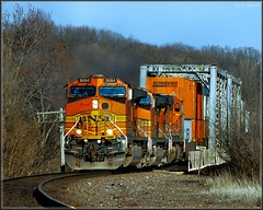 Rock River Crossing (Images by A.J.) Tags: santa railroad trestle bridge rock oregon burlington train truck river square pig illinois rail railway trains il container explore transportation trucks trailer fe northern piggyback bnsf trailers containers truss  intermodal  bsquare   explored