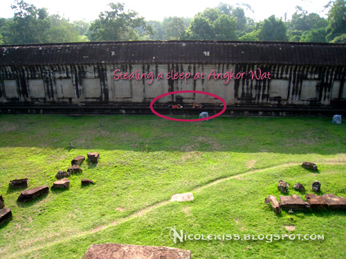 sleeping in angkor wat