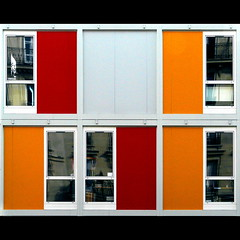 Facciata s-componibile (Isco72) Tags: school windows red orange white paris france reflection building square searchthebest geometry edificio panasonic bec rosso francia b