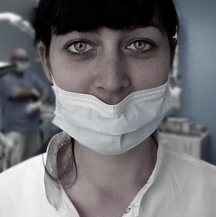 Silvia (aspira nte). (.unsuono.) Tags: portrait woman girl face mask ritratto dentista