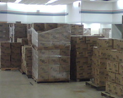 Food stacked and ready for distribution in Iowa