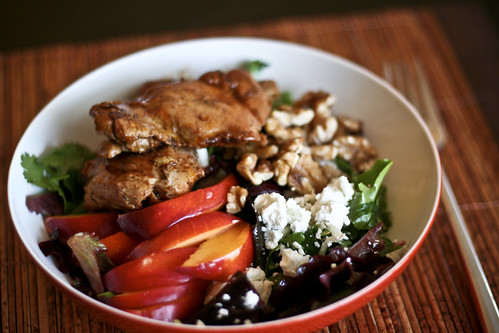 jerk chicken, nectarine & goat cheese salad