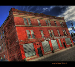Corona Street Tavern (ecstaticist - evanleeson.com) Tags: blue sky cloud canada brick window bar casio alberta tavern hdr medicinehat photomatix ecstaticist exf1 bauhausrendezvous
