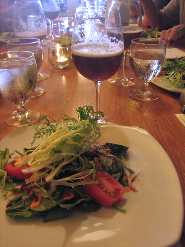 roasted shitake salad with cask Oxford Organic Amber Ale