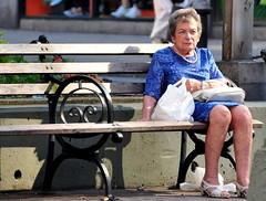 newyork bag necklace solitude alone manhattan broadway pearls upperwestside oldwoman benches contemplation broadwaymalls