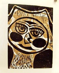 'owl linoleum print' - craftyhag on Flickr