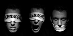 Censored and Silenced (Wanderer and Wonderer) Tags: portrait me studio triptych sydney australia censorship censored silence silenced icpp