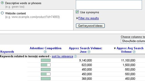 Google Adwords Keyword Tool Showing Precise Traffic Estimates