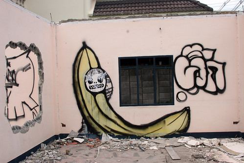 Street Art in Thailand - Banana with Face - Bang Saen, Thailand