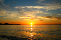tranquility (esther**) Tags: sunset sea sky sun colors clouds bravo greece rhodes