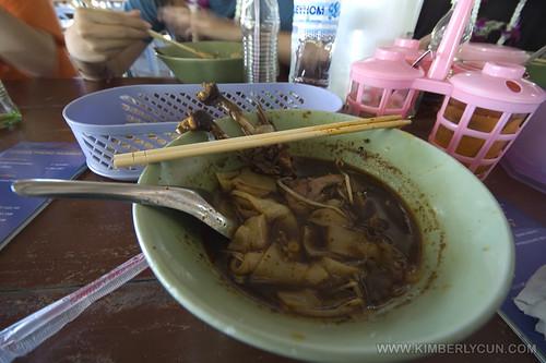 Half eaten duck noodles