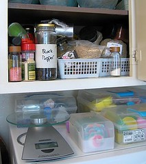 Before: Secondary spice cabinet in a jumble