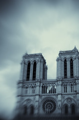 Blue gothic (IrenaS) Tags: city blue urban blur paris france church architecture lensbaby cathedral gothic notredame