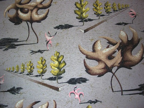"Mid Century Modern ~ ""Dancing Leaves"" Barkcloth"