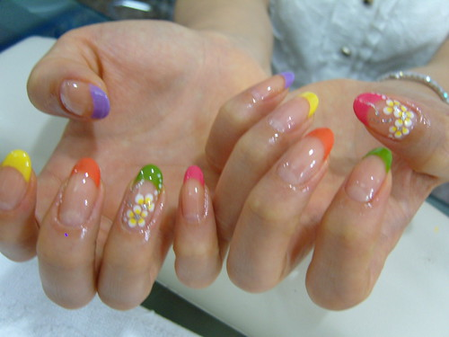 Colorful french nails design eith yellow flowers nail art gallery