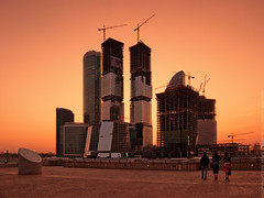 Growing city (Andrey Permitin) Tags: sunset architecture modern evening nikon warm skyscrapers dusk moscow moscowcity   d40