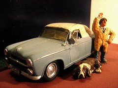 Scratch-Built 'Columbo' Peugeot 403 Car: Plastic Model Car By HELLER: Diorama - 7 of 10 (Kelvin64) Tags: show dog car tv cop series peugeot diorama columbo columbos lieutenent