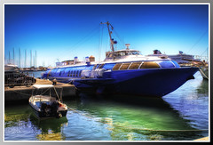 My boat [Remake] (AlexShot Photography) Tags: sea port reflections boat greece grecia softfocus 2008 hdr rodi blueboat blueribbonwinner hdrfromjpeg rodhes seareflections holidays2008 hdrfromonejpeg colorfullaward hdrcreativeshots portorodi rodhesport