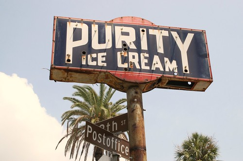 sun on purity ice cream sign