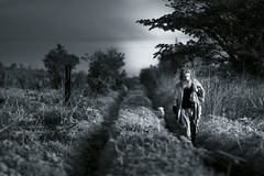 Traveling beyond his world (Luis Montemayor) Tags: morning dog maana mexico savedbythedeletemegroup homeless oldman tequila perro anciano myfavs