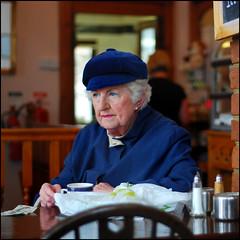 Lady in tea room, Hythe, Kent