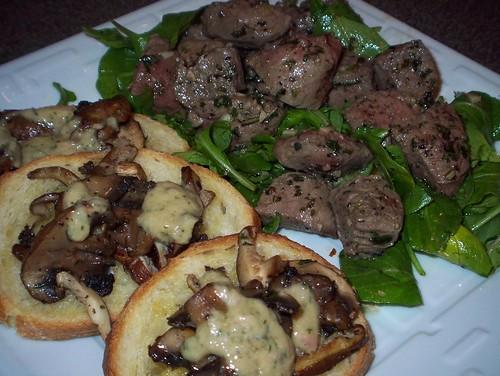 mushroom crostini and lamb cacciatore