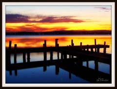 Dont let the sun go down on me (Lady Jayne ~) Tags: sunset lake reflection pier jetty australia nsw squidsink