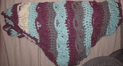 Japanese Triangular shawl - purple, blue and gray