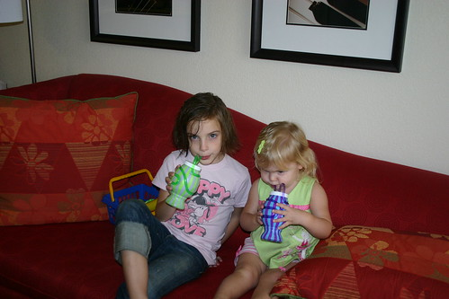 Tori and Anna with their cups Opa gave them