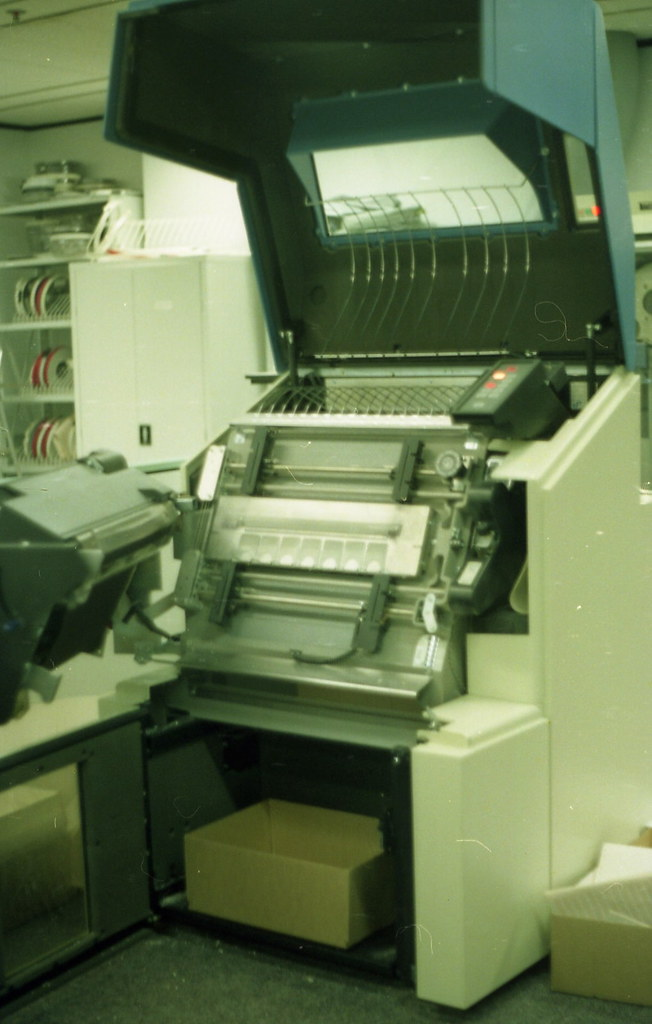 Impact printer open for cleaning
