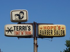 OH Columbus - Terri's & Hope's (scottamus) Tags: old columbus ohio sign vintage vacuum tint plastic barber hopes salon trim terris formed franklincounty vacuform