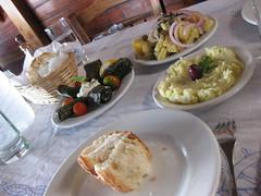 Delicious lunch in Oia (jasmine_tea) Tags: greek salad potato garlic dip dolmades