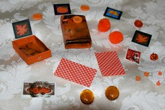 Orange Busy Box - Craft Kit - Altered Matchbox Contents (Pictures by Ann) Tags: orange altered scrapbook paper children rainyday expression buttons stickers creative craft boredom stamp buster kit adults matchbox postagestamp busybox artkit travelkit womanmade alteredmatchbox quickcraft boredombuster madebyawoman atckit embellshment rainydaykit handmademadebyhand