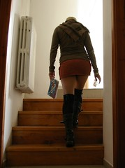 stairs (*janina*) Tags: orange brown white me stockings girl wall stairs self myself shoe high october shoes stair pentax noha tights skirt hose hosiery ja knee 2008 janina he