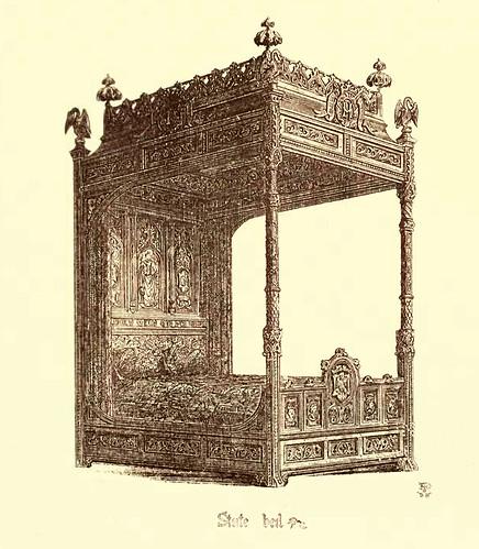 18- Muebles estilo gotico S. XV- Cama oficial con baldaquino