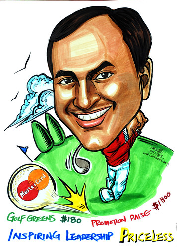Golfer caricature for Mastercard