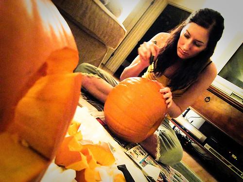 Meeeee.. carving a pumpkin