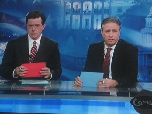 Jon Stewart and Stephen Colbert team up to mock Glenn Beck