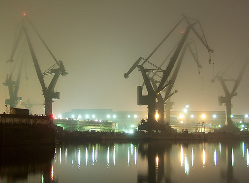 fog over shipyard