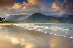 Hanalei Mist - Kauai, Hawaii (PatrickSmithPhotography) Tags: ocean travel sunset wallpaper vacation sky usa seascape beach nature clouds sunrise landscape hawaii waterfall paradise pacific palmtree kauai 5d bec hanalei princeville 1740l waialeale hanaleibeach hanalaikauai photocontesttnc10